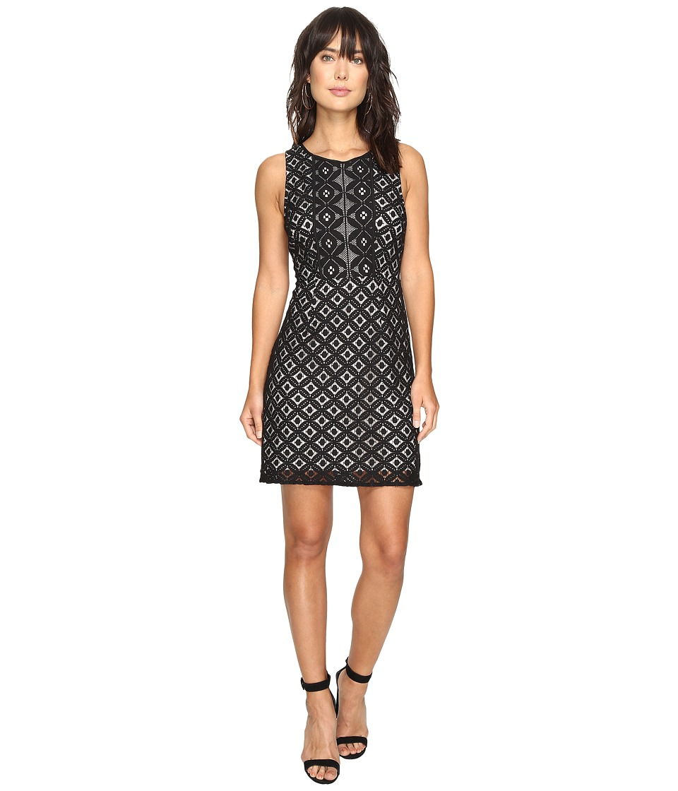 kensie Graphic Geo Lace Dress KS3K7729 (Black Combo) Women