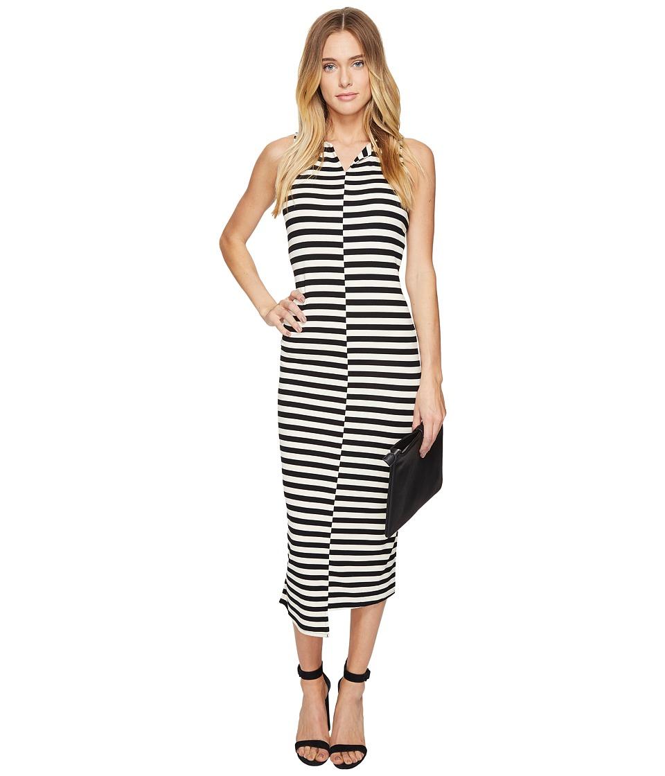 kensie Soft Striped Ponte Dress KS2K7720 (French Vanilla Combo) Women