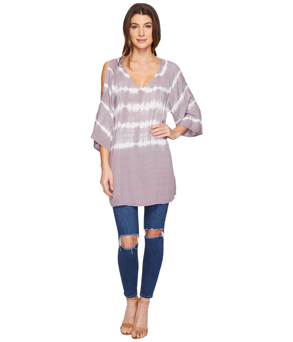 Culture Phit - Evelin V-Neck Tie-Dye Top (Off-White/Mauve) Women's Clothing