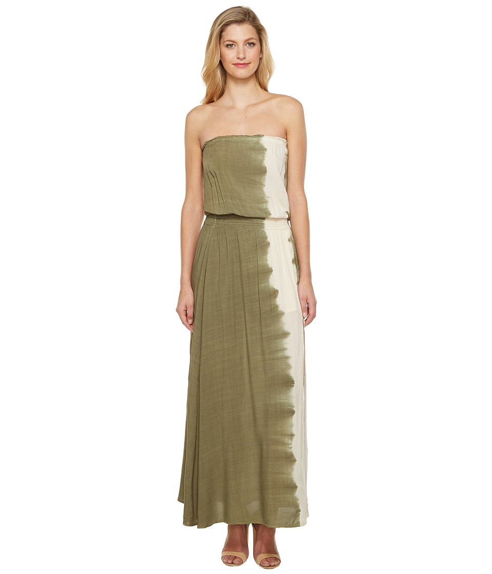 Culture Phit - Essence Strapless Tie-Dye Maxi Dress with Slit (Olive) Women's Dress