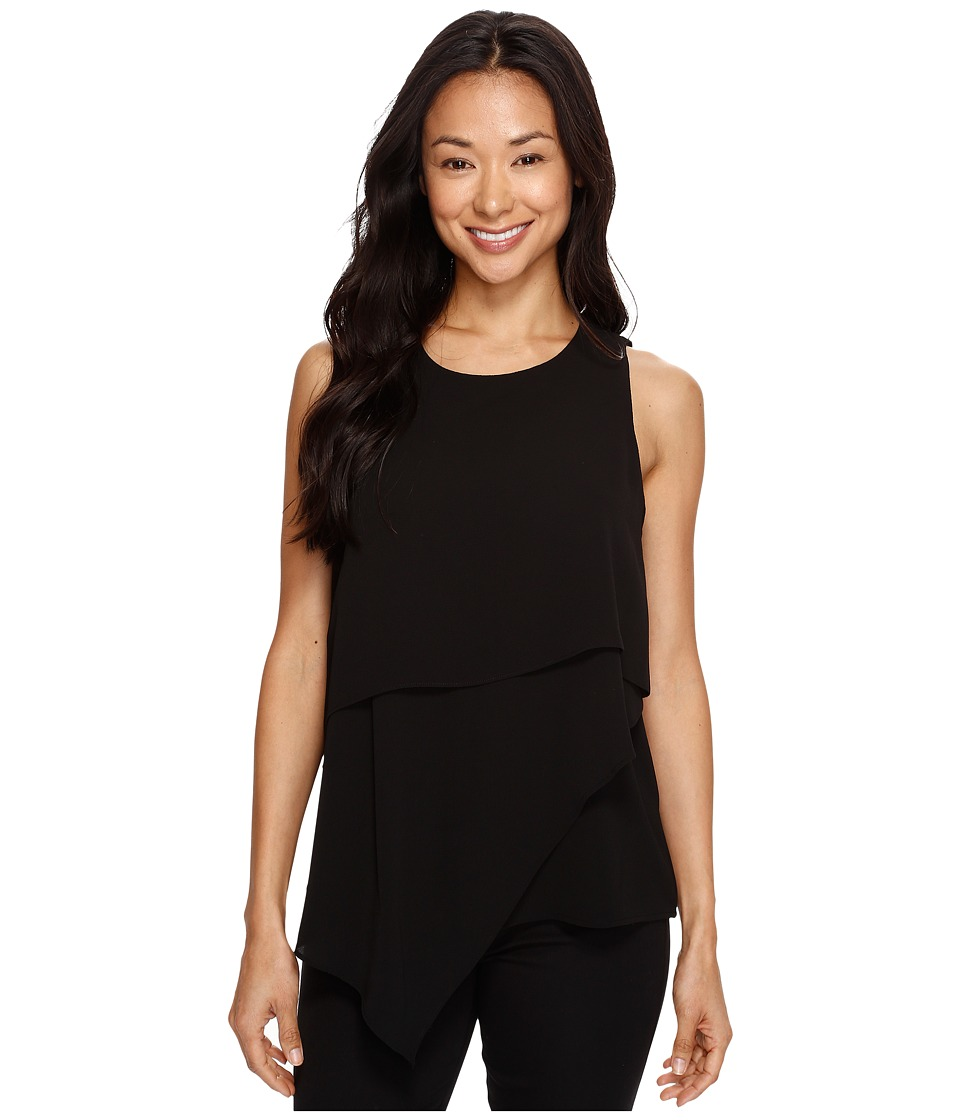 Vince Camuto - Sleeveless Asymmetrical Layered Blouse (Rich Black) Women's Blouse