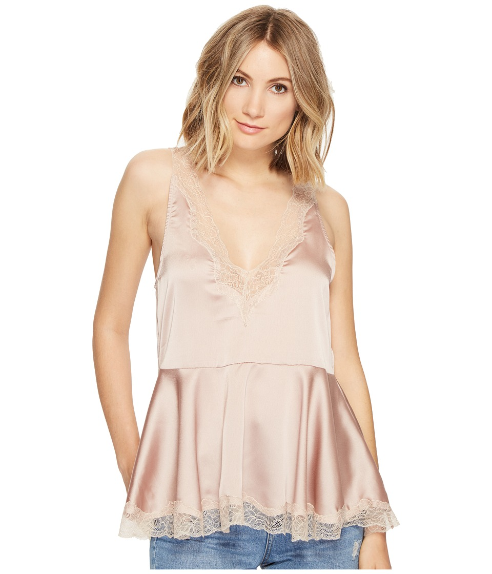 Brigitte Bailey - Elaina Ruffle Bottom Top with Lace Detail (Taupe) Women's Clothing