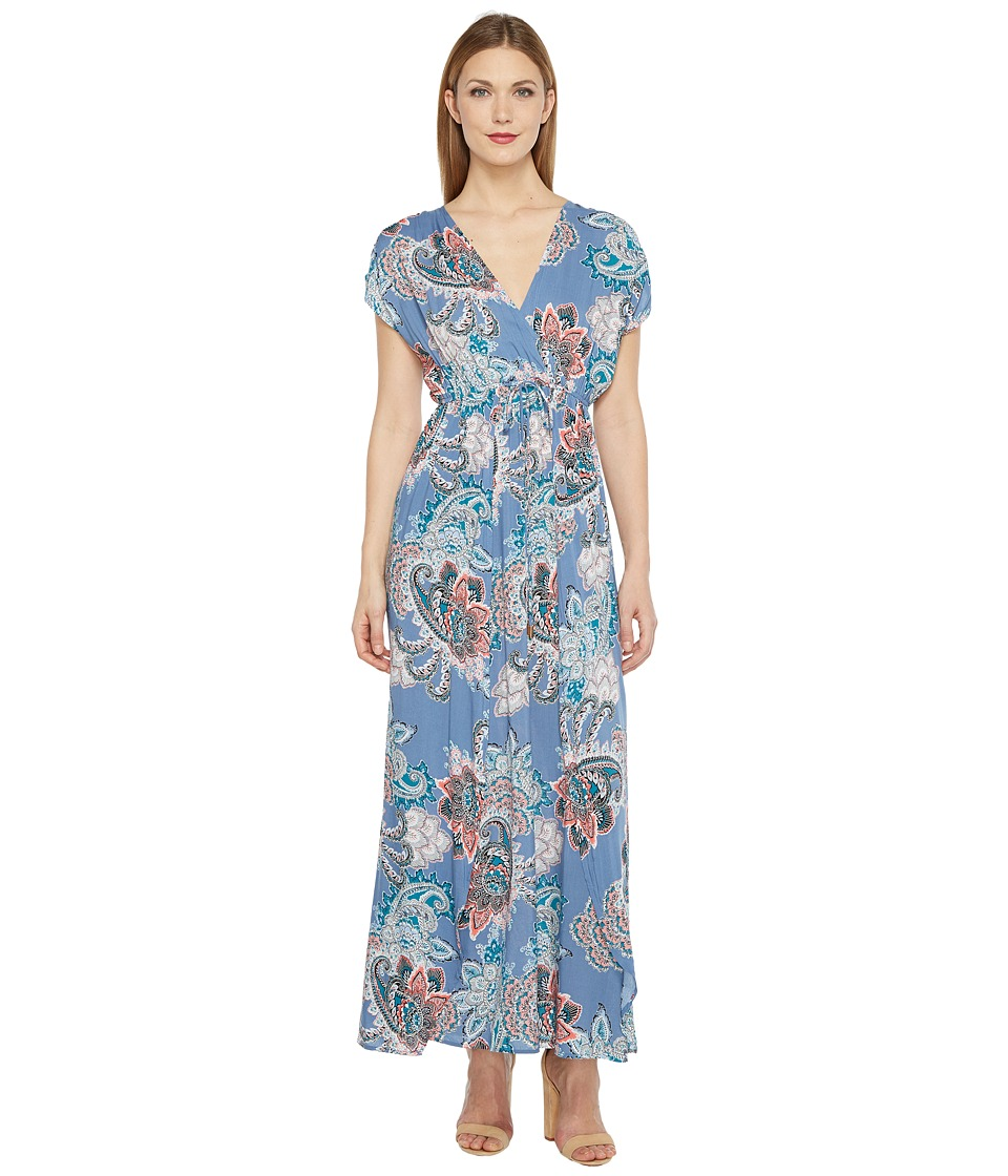Brigitte Bailey - Jamya Cap Sleeve Printed Maxi Dress (Blue) Women's Dress