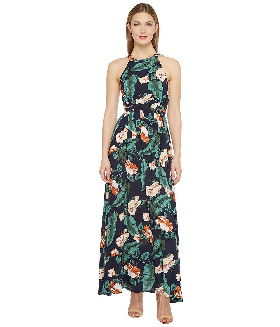 Brigitte Bailey - Jimena Tropical Print Maxi Dress (Navy) Women's Dress