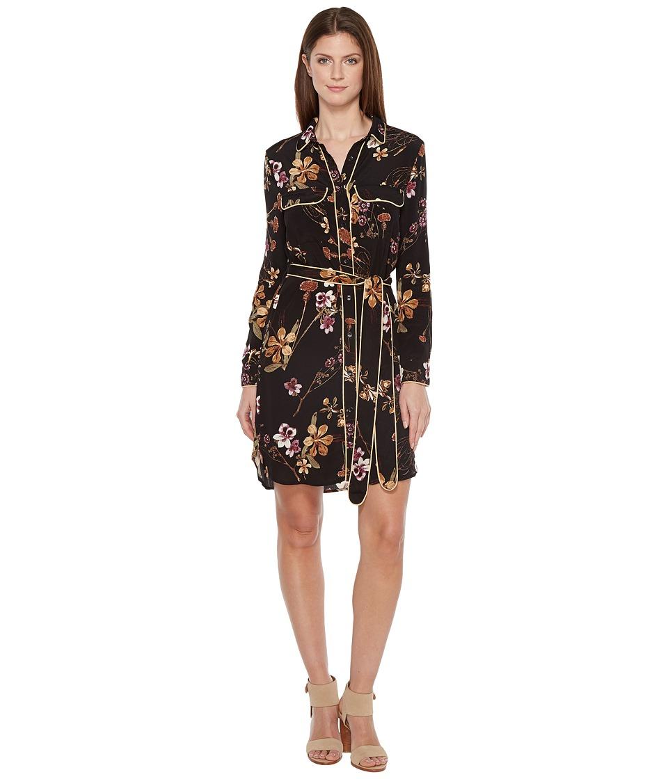 Brigitte Bailey - Adrian Dress with Collar and Waist Tie (Black) Women's Dress