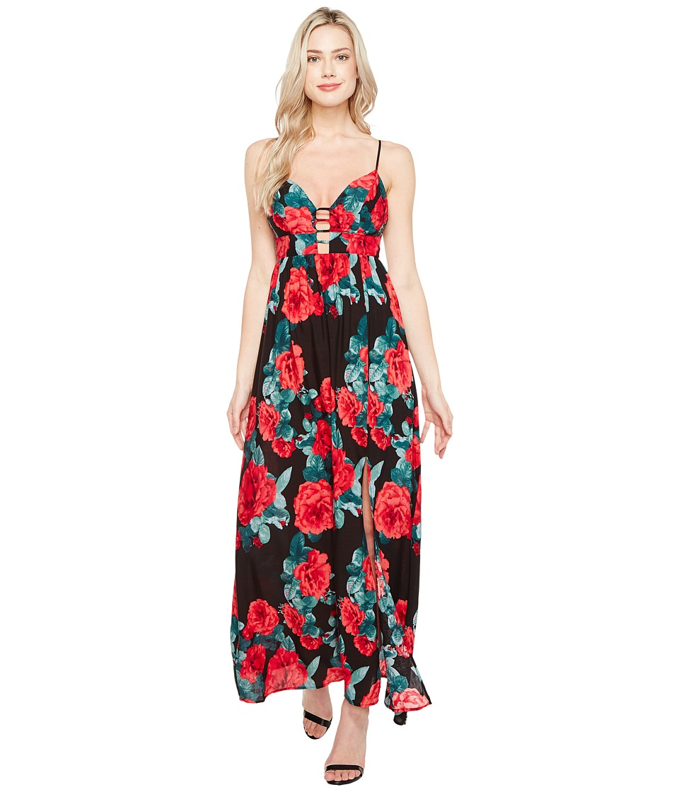 Brigitte Bailey - Kenia Spaghetti Strap Rose Print Maxi Dress (Black/Red) Women's Dress