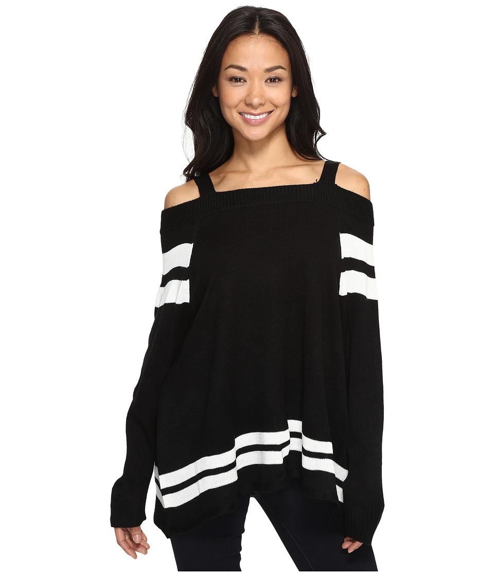 Brigitte Bailey - Cellinia Cold Shoulder Sweater (Black/White) Women's Sweater