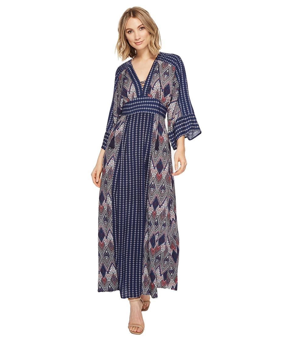 Brigitte Bailey Carson V-Neck Maxi Dress (Navy/Multi) Women