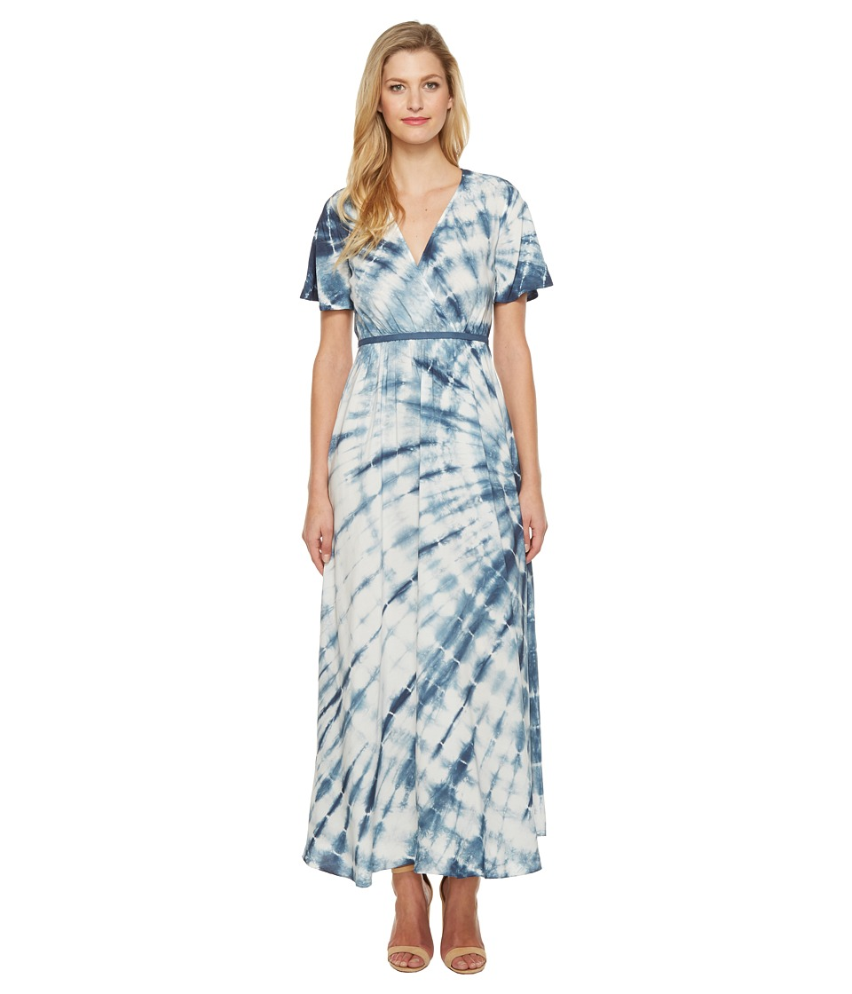 Culture Phit - Fabiola Short Sleeve Tie-Dye Maxi Dress (Ivory/Navy) Women's Dress