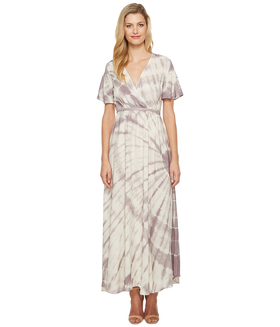 Culture Phit Fabiola Short Sleeve Tie-Dye Maxi Dress (Ivory/Red Bean) Women