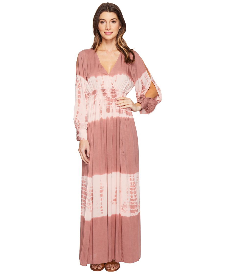 Culture Phit Faye Long Sleeve Tie-Dye Maxi Dress (Mauve/Blush) Women