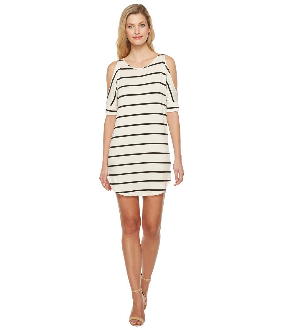 Culture Phit - Jakayla Cold Shoulder Dress (Ivory/Black) Women's Dress