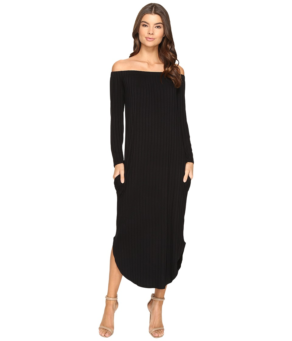 Culture Phit - Karyme Off the Shoulder Long Sleeve Pocketed Dress (Black) Women's Dress