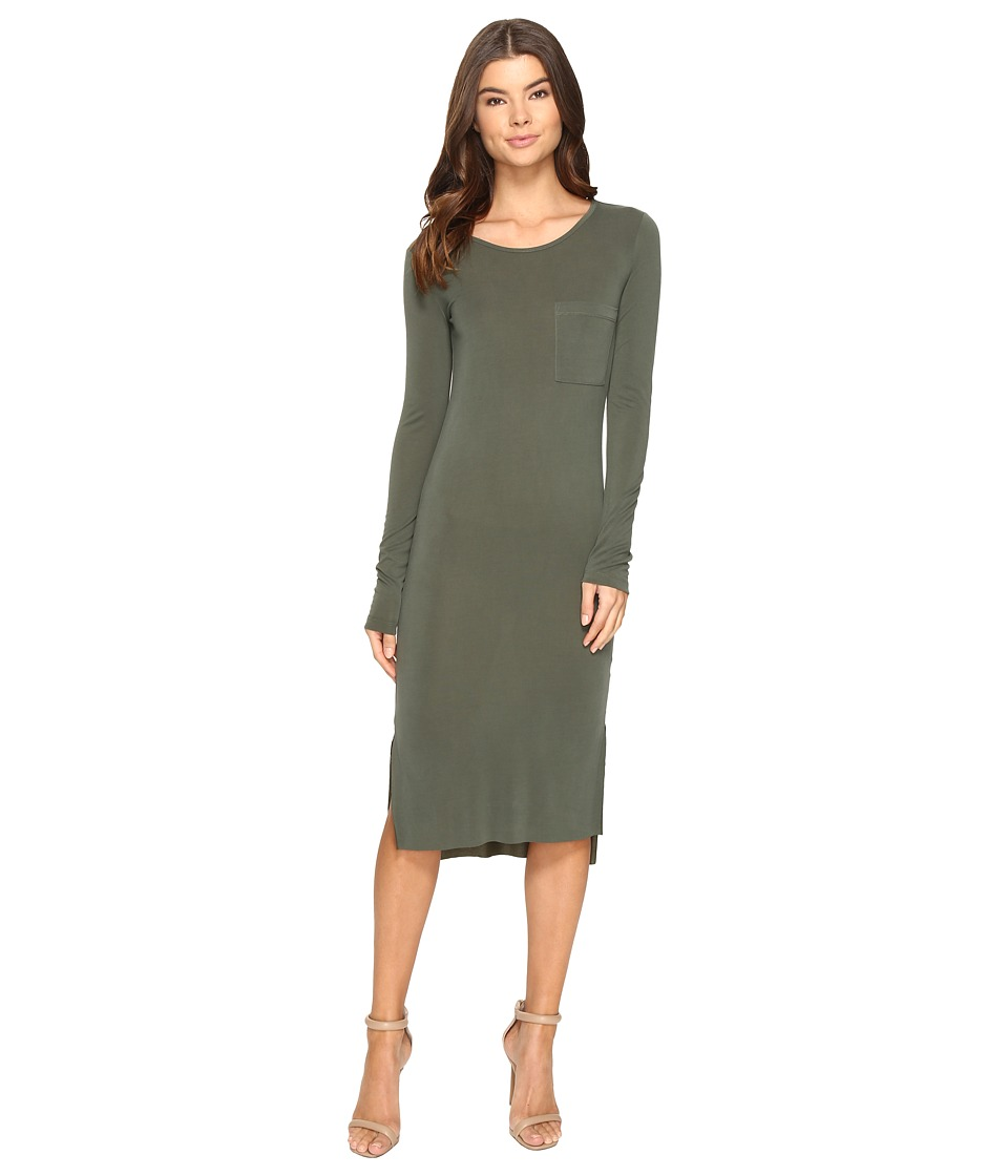 Culture Phit - Fleta Long Sleeve Midi Dress with Pocket (Olive) Women's Dress