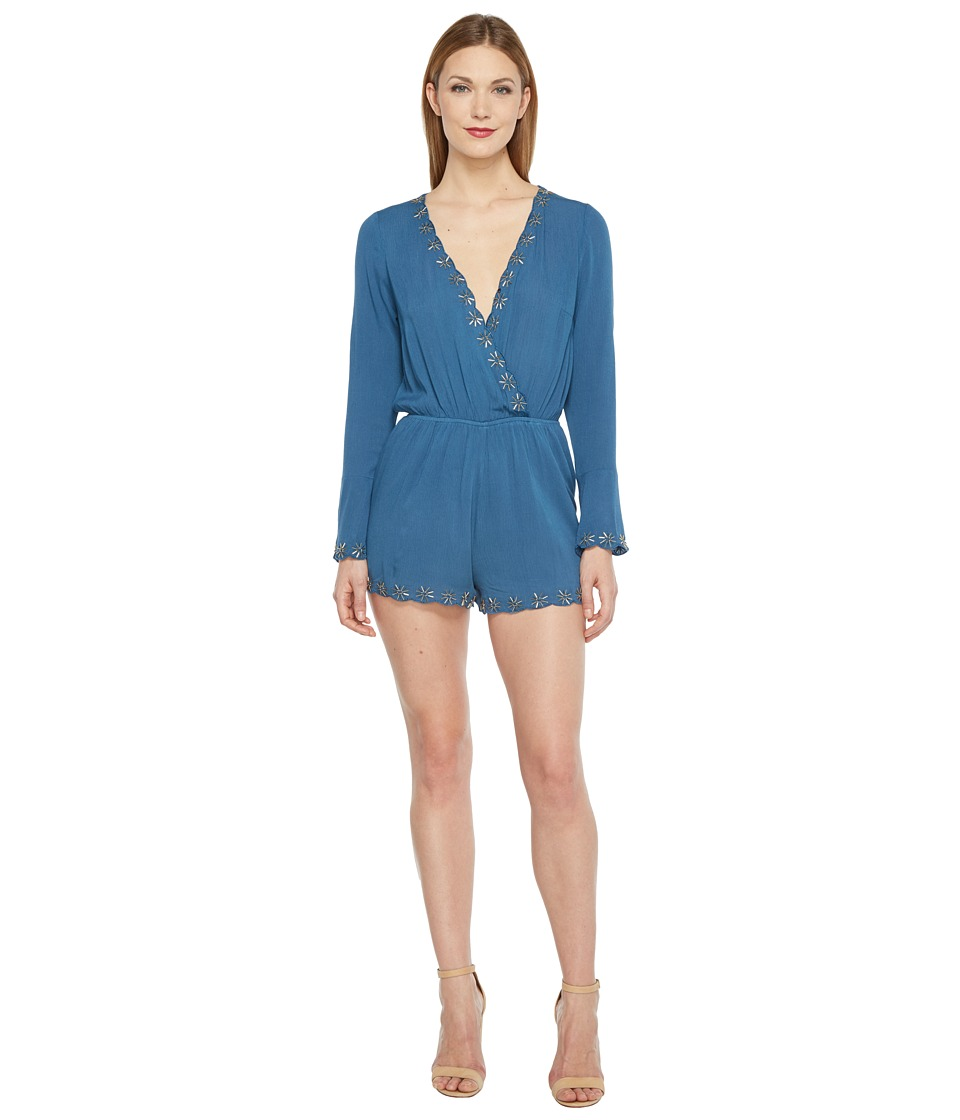 Brigitte Bailey - Illiana Bell Sleeve Romper with Bead Detail (Teal) Women's Jumpsuit & Rompers One Piece