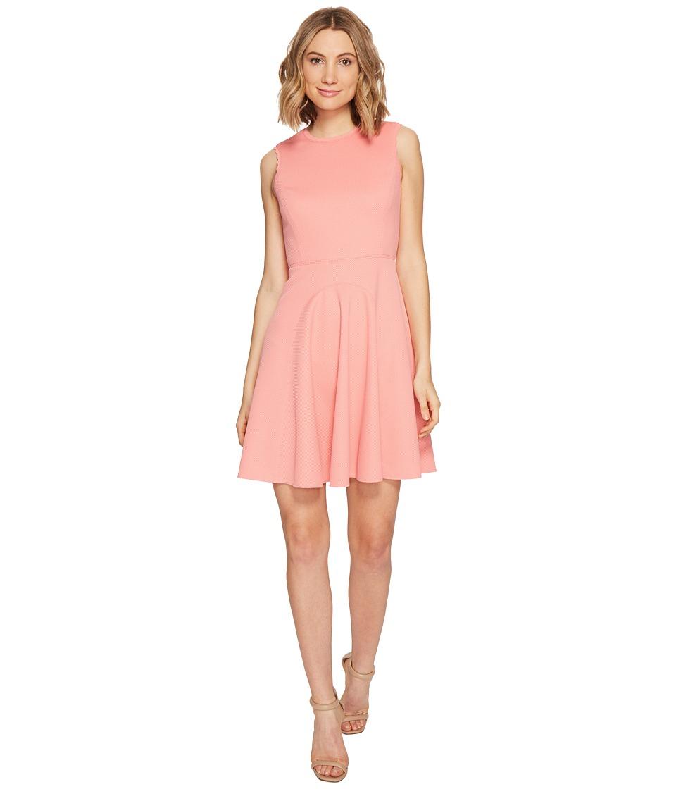 Rebecca Taylor Sleeveless Stretch Texture Dress (Pink Grapefruit) Women