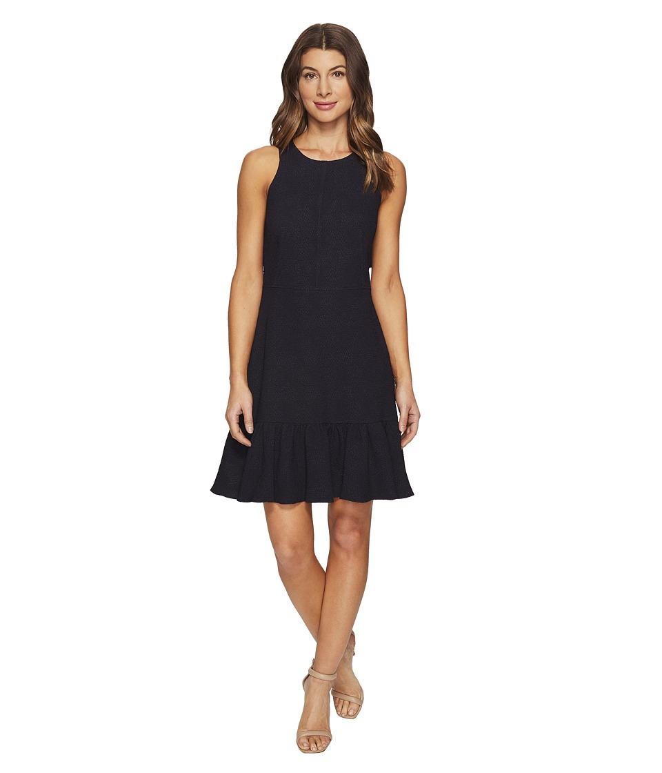 Rebecca Taylor - Sleeveless Stretch Texture Ruffle Dress (Dark Navy) Women's Dress