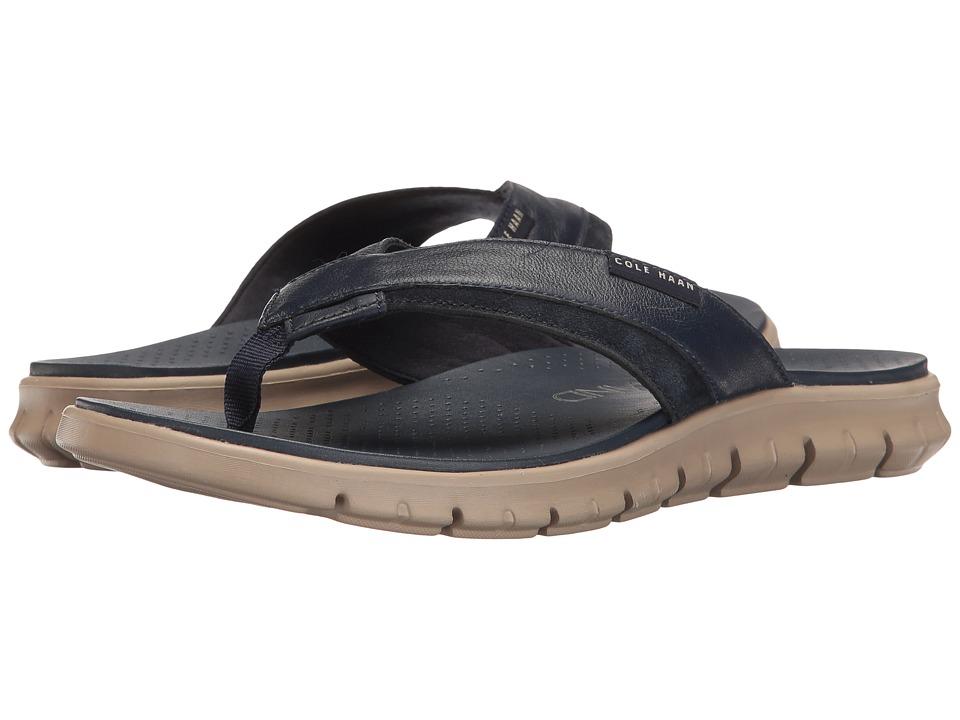 Cole Haan - Zerogrand Fold Thong (Marine Blue/Cobblestone) Men's Sandals