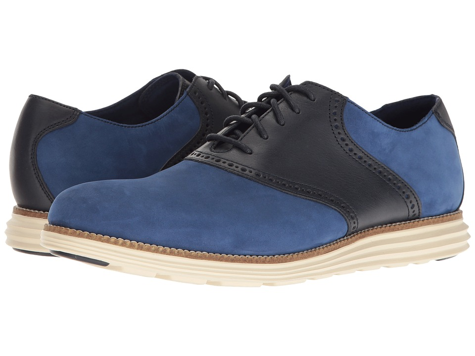 Cole Haan Original Grand Saddle II (Rainstorm Leather/Navy Ink/Ivory) Men