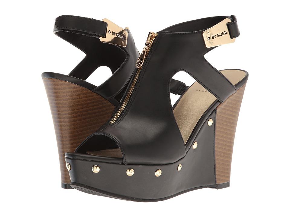 G by GUESS - Shifter2 (Black Burnished Calf PU) Women's Wedge Shoes