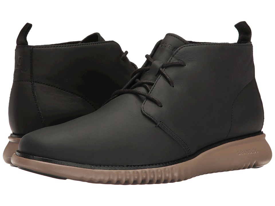 Cole Haan - 2.Zerogrand Chukka (Black Leather/Sea Otter) Men's Lace-up Boots