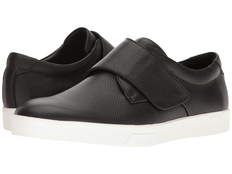 Calvin Klein - Iman (Black Tumbled Leather) Men's Hook and Loop Shoes