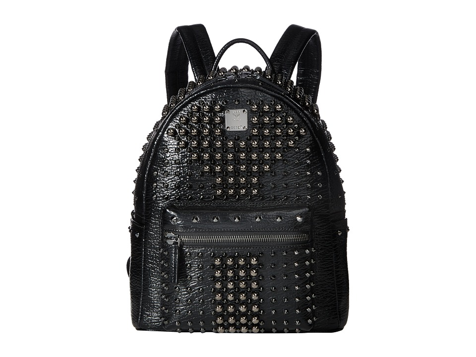 MCM - Stark Pearl Studs Small Backpack (Black) Backpack Bags