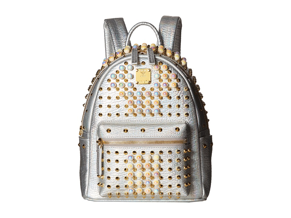 MCM - Stark Pearl Studs Mini Backpack (White Flake) Backpack Bags