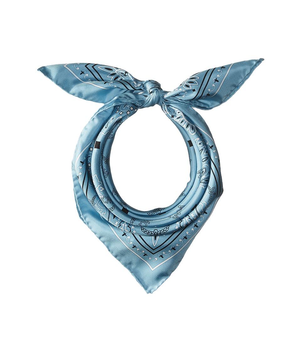 MCM - Logo Print Bandana Scarf (Sky Blue) Scarves
