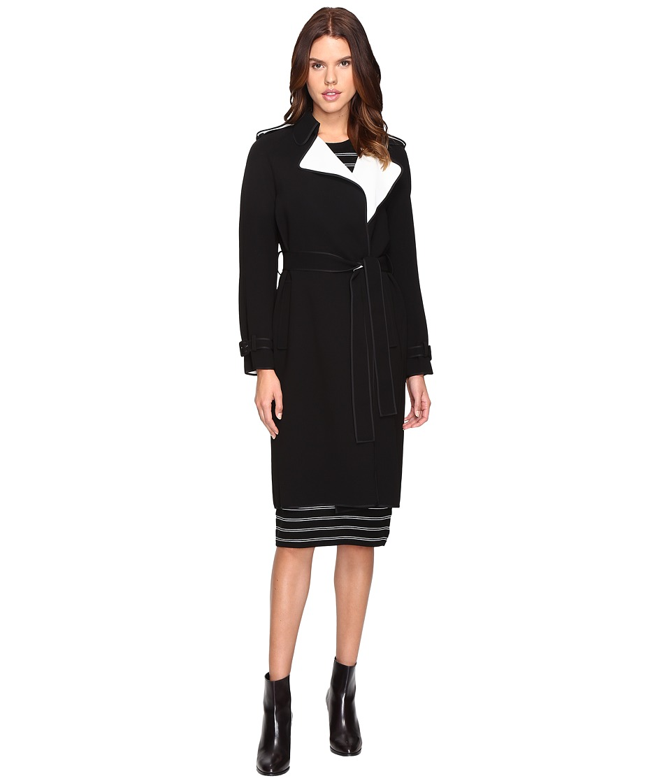 Theory - Laurelwood SB Bonded Double Crepe Trench (Black/Classic White) Women's Coat