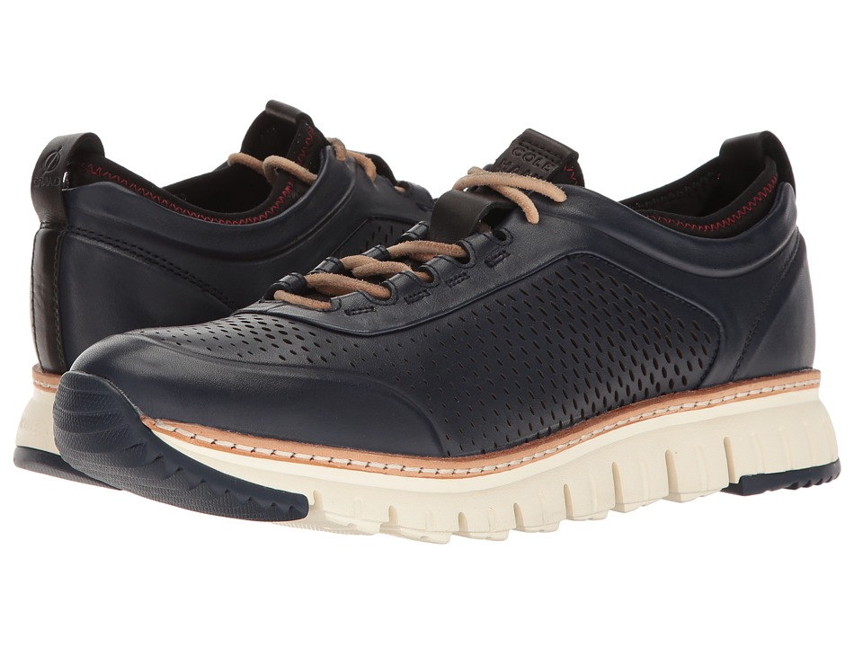 Cole Haan ZeroGrand Perforated Sneakers (Marine Blue Leather/Black/Rainstorm/Ivory) Men