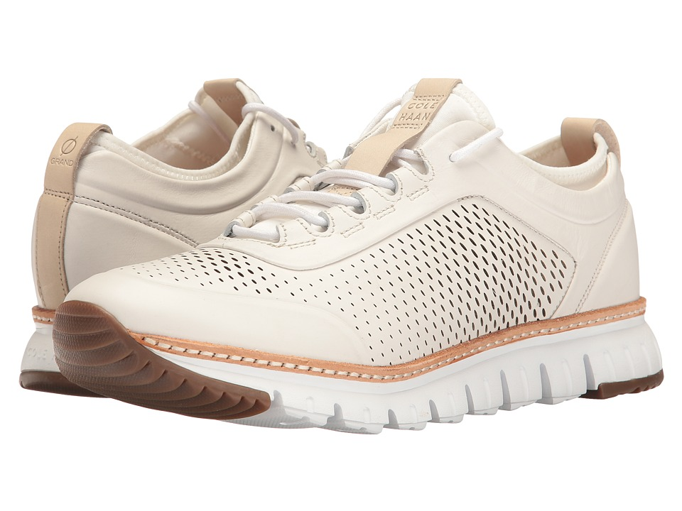 Cole Haan ZeroGrand Perforated Sneakers (White Leather/Ivory/Natural/Gum) Men