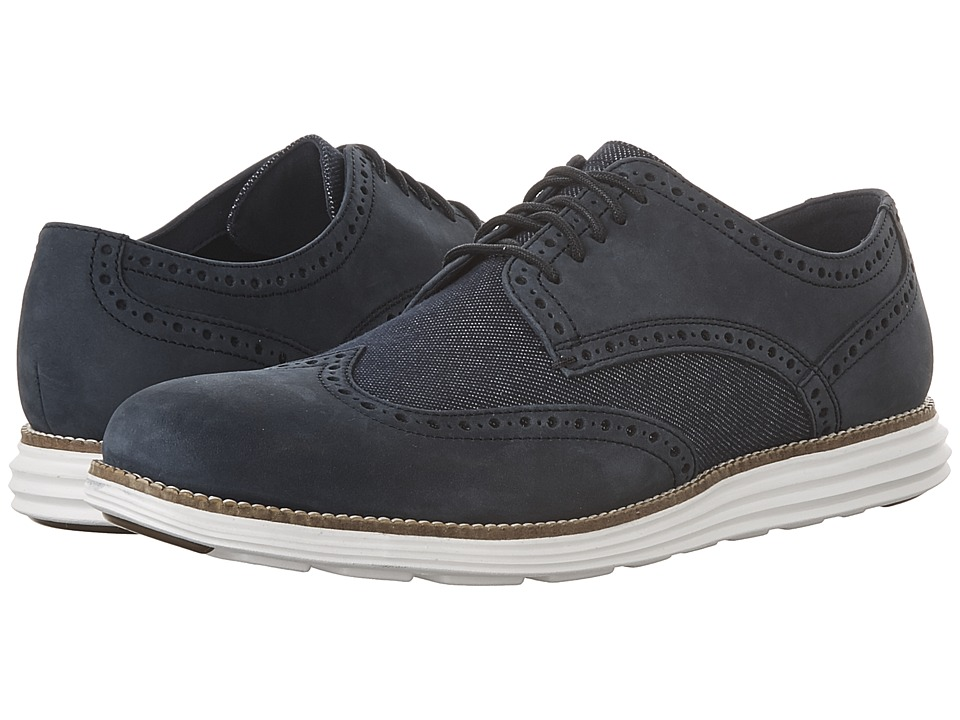 Cole Haan - Original Grand Wing Oxford (Navy Ink Nubuck/Dark Denim/Optic White) Men's Lace up casual Shoes