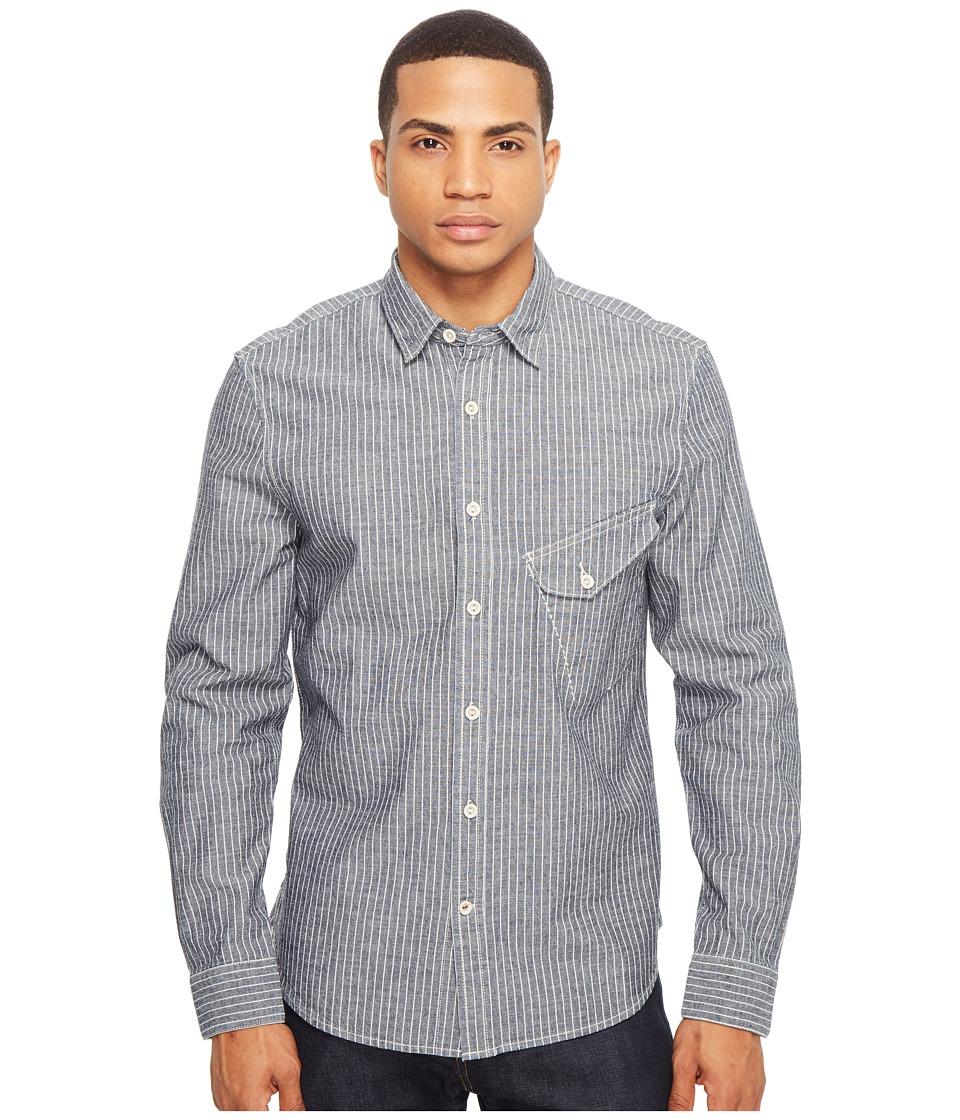 Joe's Jeans - Ty Woven Railroad Indigo Stripe (Railroad Stripe) Men's Long Sleeve Button Up