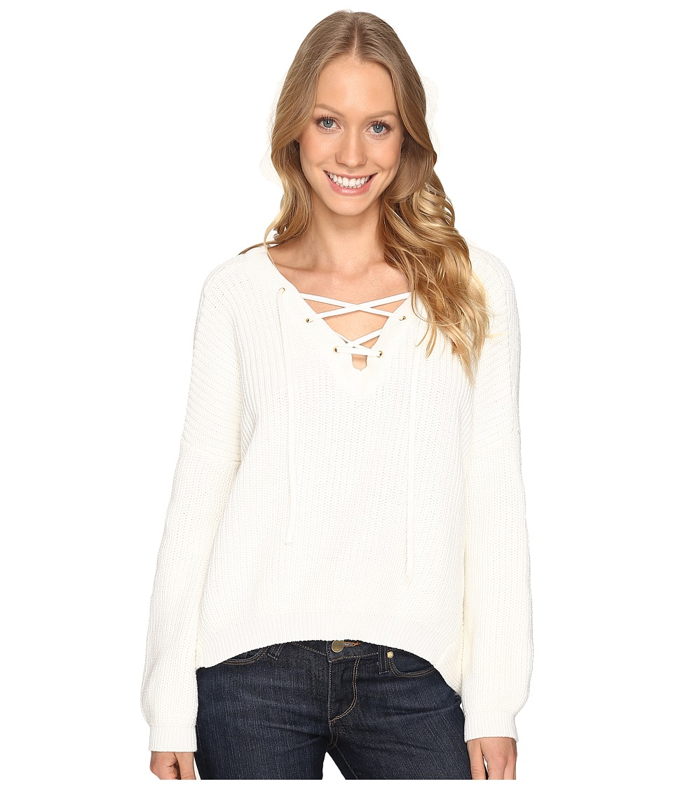 Fate - Lace-Up Front Hi Low Knit (Cream) Women's Clothing