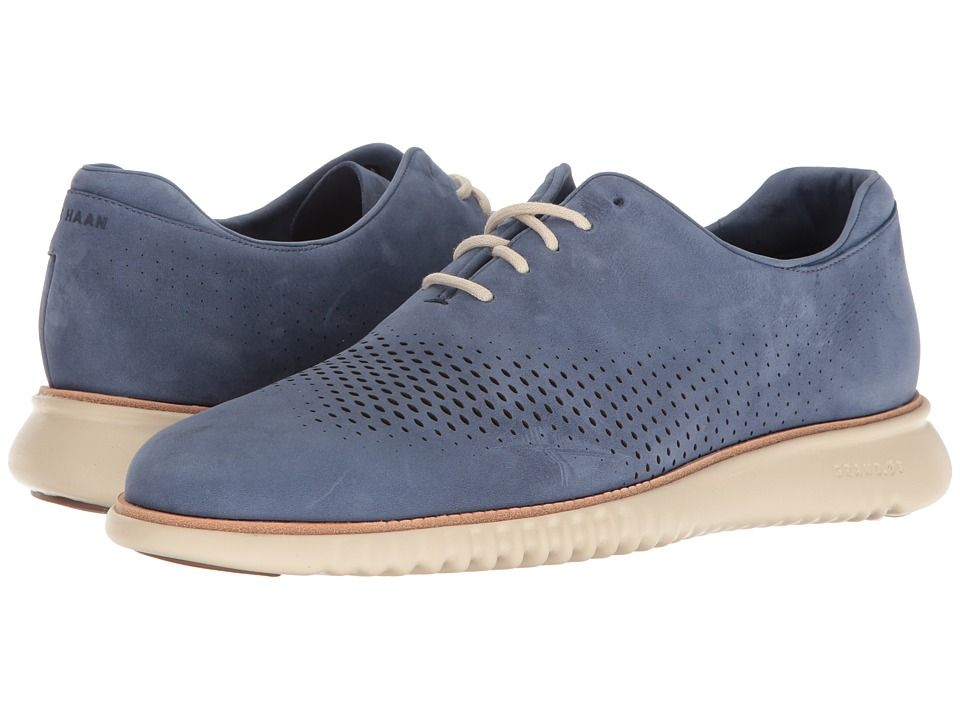 Cole Haan - 2.0 Grand Laser Wing Open (Washed Indigo Nubuck/Fog) Men's Lace Up Wing Tip Shoes