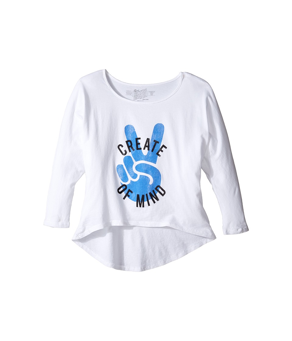 The Original Retro Brand Kids - Create Peace of Mind High-Low 3/4 Sleeve (Big Kids) (White) Girl's Clothing