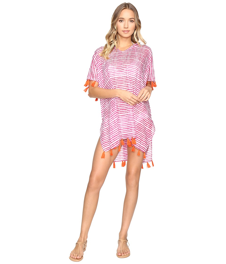 Hat Attack - Tassel Cover-Up Blurry Stripe (Pink) Women's Swimwear