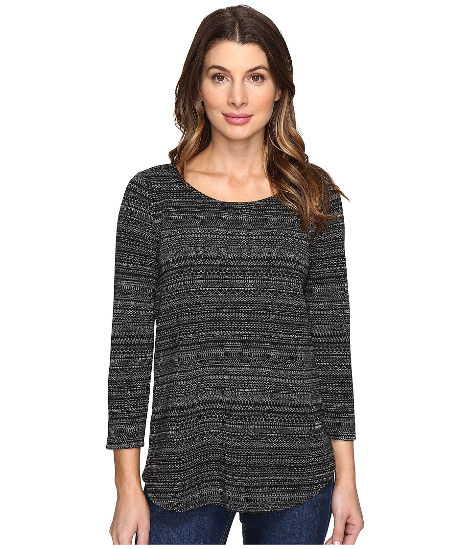 NYDJ - Otta Metallic Knit Top (Charcoal) Women's Clothing