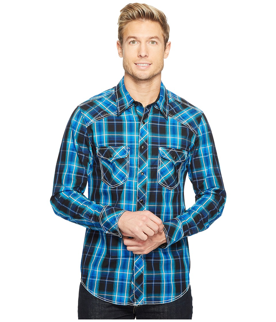Rock and Roll Cowboy - Long Sleeve Snap B2S2055 (Blue) Men's Clothing