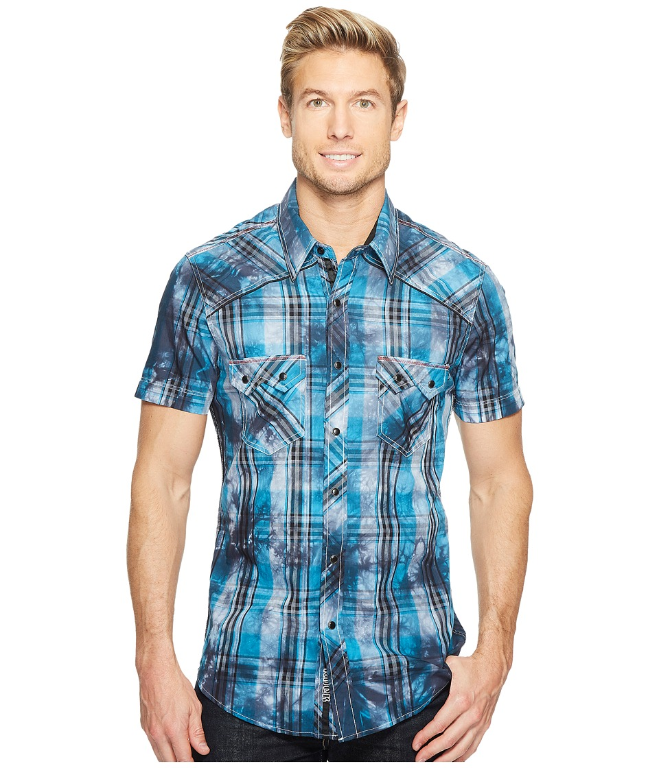 Rock and Roll Cowboy - Short Sleeve Button Down B1S2060 (Turquoise) Men's Short Sleeve Button Up
