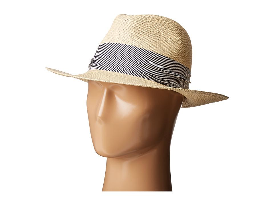 Hat Attack - Panama Continental (Natural/Navy Striped Fabric Band) Traditional Hats