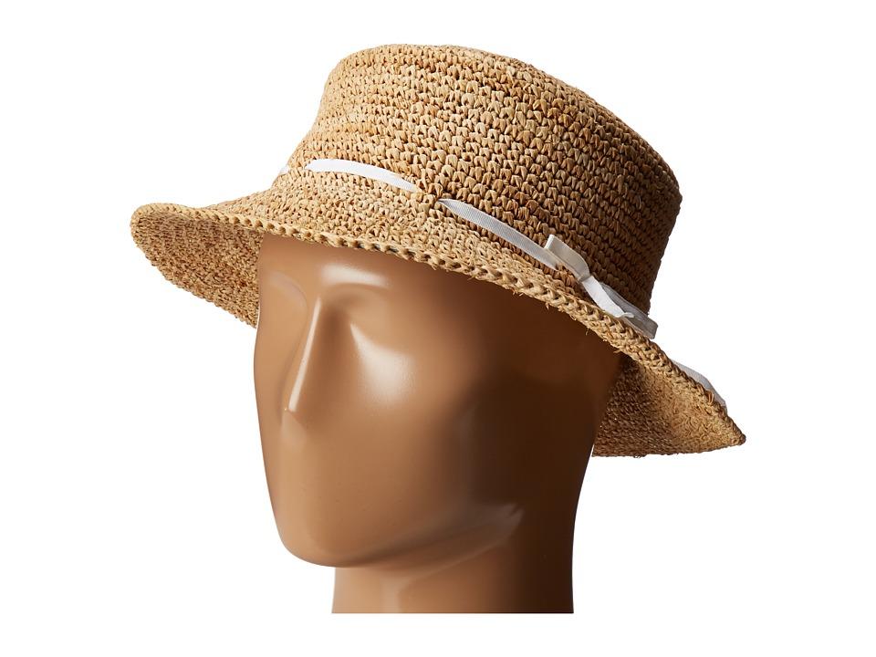 Hat Attack - Raffia Drawstring Crusher (Natural/White) Caps
