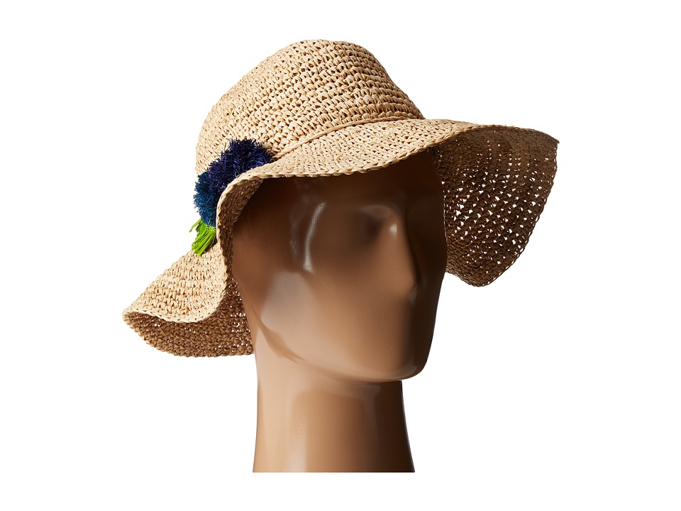 Hat Attack - Chunky Crochet Continental w/ Pom Tassel (Natural/Blues) Caps