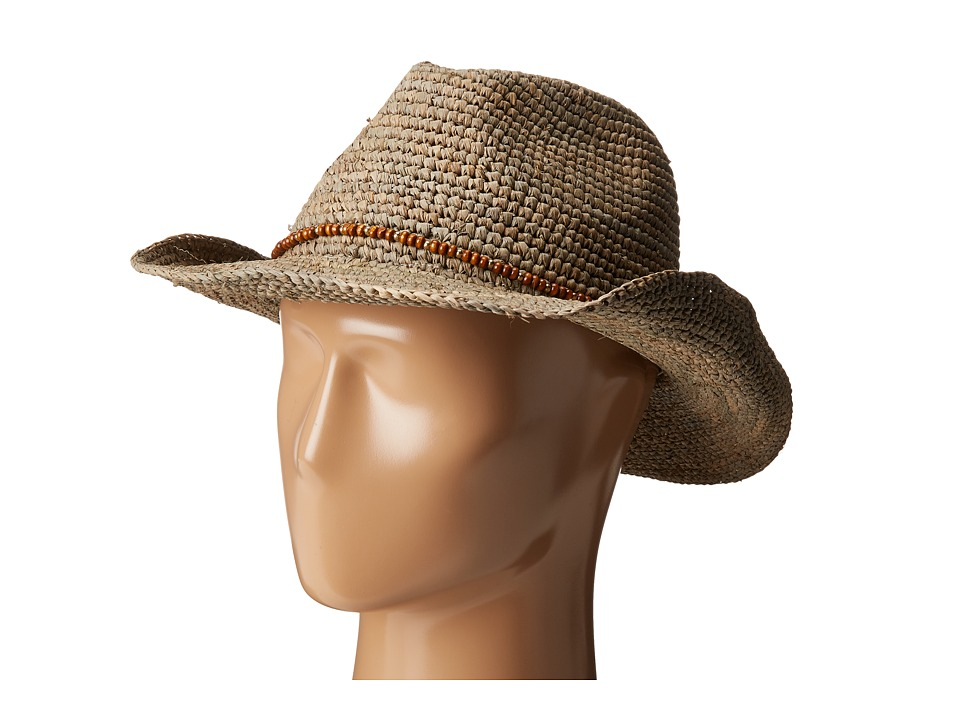 Hat Attack - Raffia Crochet Small Cowgirl (Taupe/Wood Beads) Caps