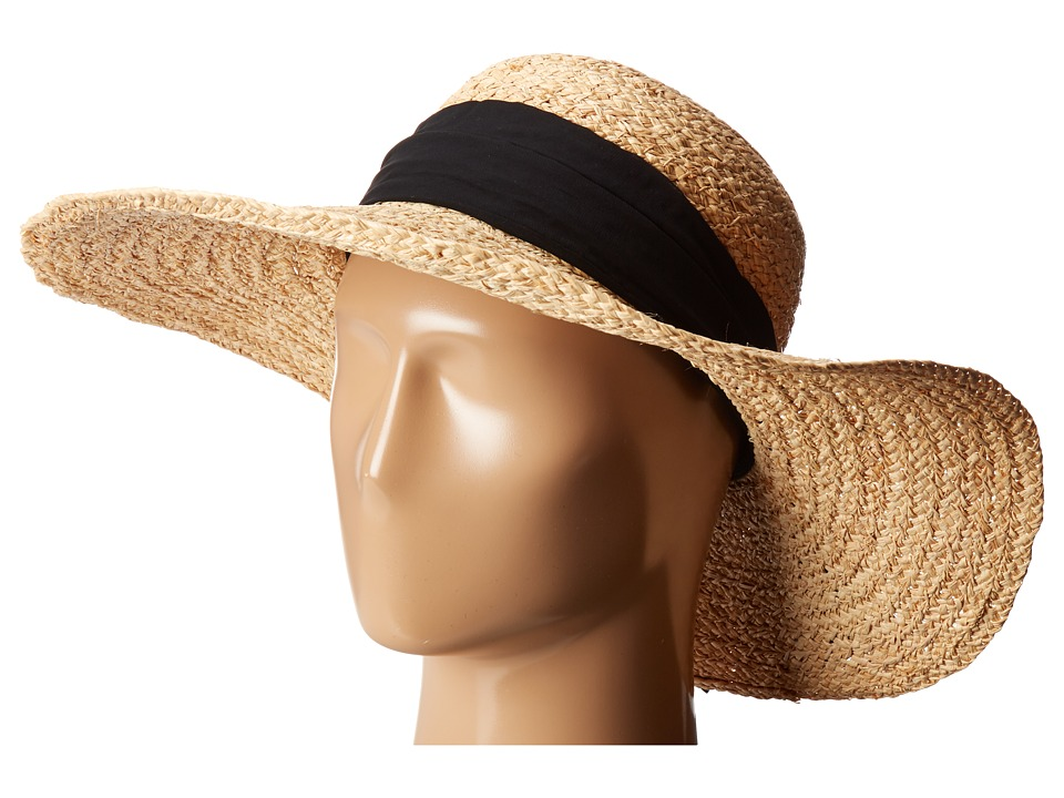 Hat Attack - Braided Sunhat w/ Scarf Band (Natural/Black) Caps
