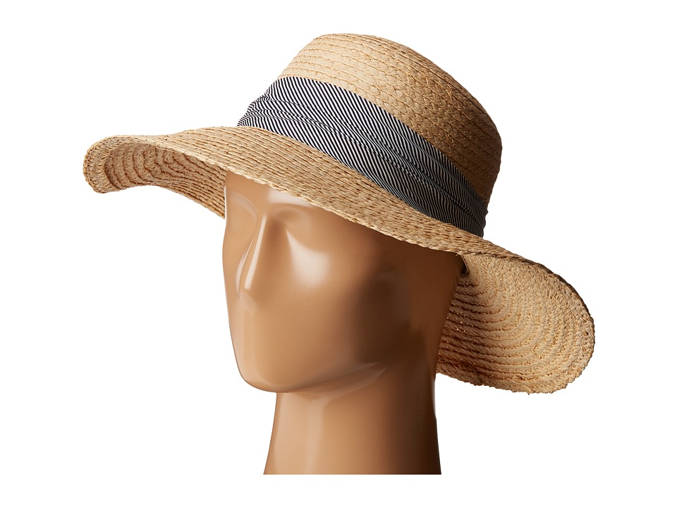 Hat Attack - Raffia Braid Lampshade w/ Striped Band (Natural/Navy) Caps