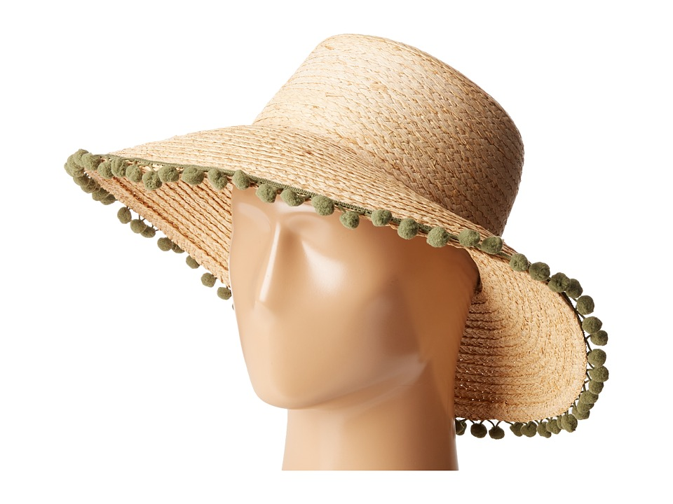 Hat Attack - Pom Pom Fringe Lampshade Sun Hat (Natural/Olive Poms) Caps