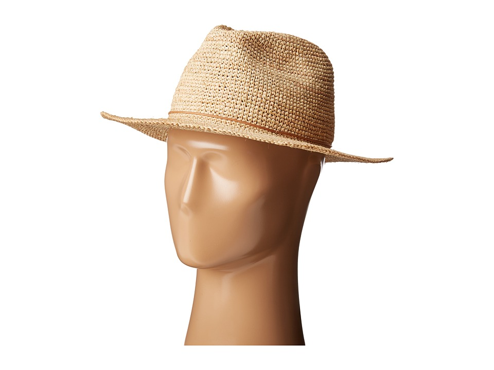 Hat Attack - Raffia Crochet Rancher w/ Stone - Cord Trim (Natural) Caps