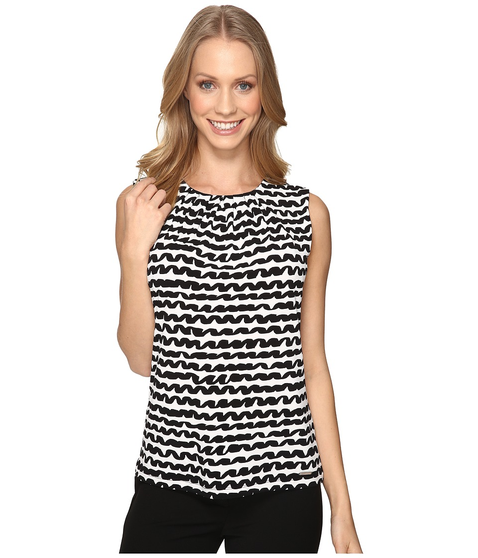 Calvin Klein - Printed Pleat Neck Cami (Black/Cream) Women's Sleeveless
